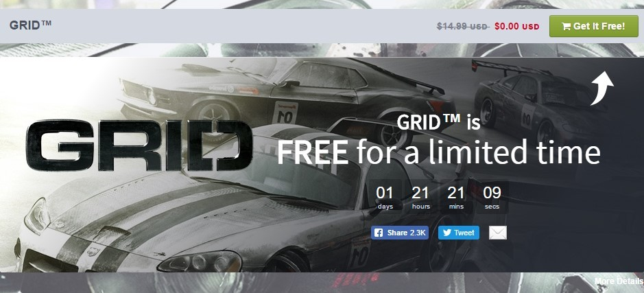 GRID Steam key is free on Humble Bundle for next 48 hours