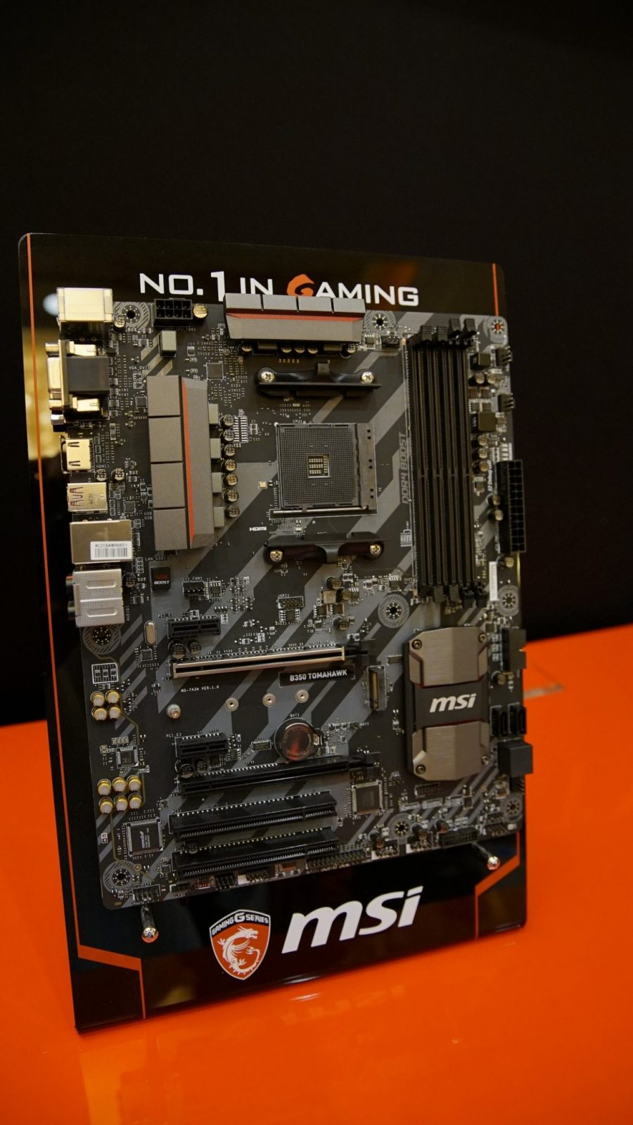 The second board is a lower end MSI s B350 series Tomahawk motherboard for bud oriented AM4 motherboard Still it es with features like M 2 support