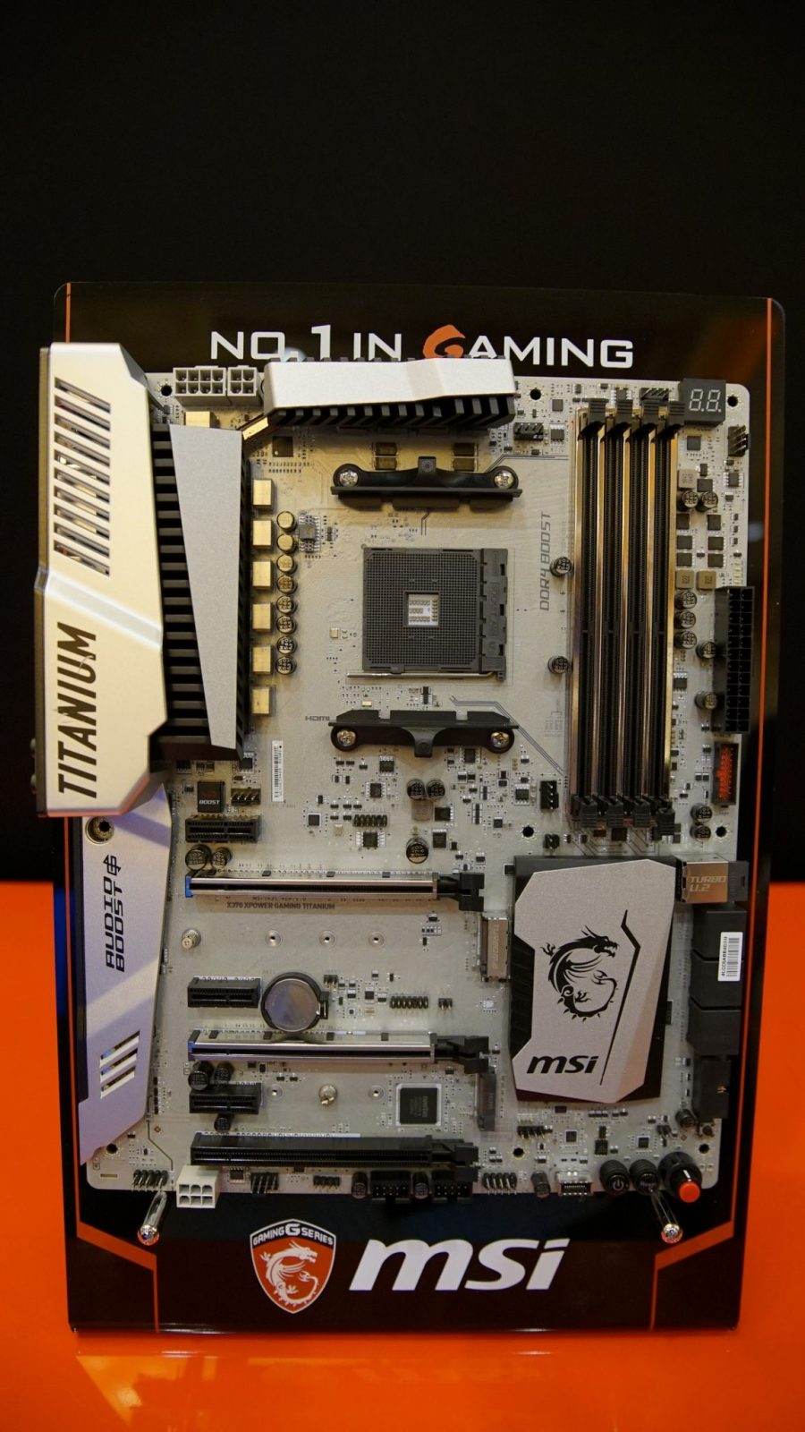 As you can see in the pictures the first board is MSI s X370 Gaming Titanium which will be a higher end board with full overclocking ready power design