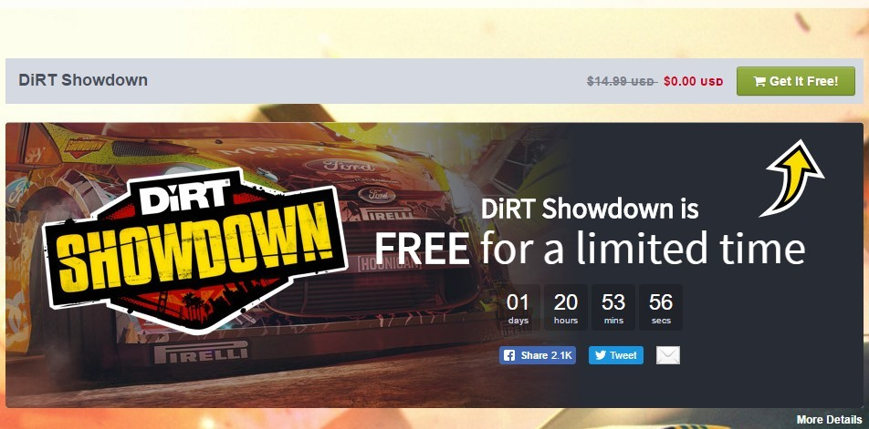 DiRT Showdown is free for on Humble Store for a limited time