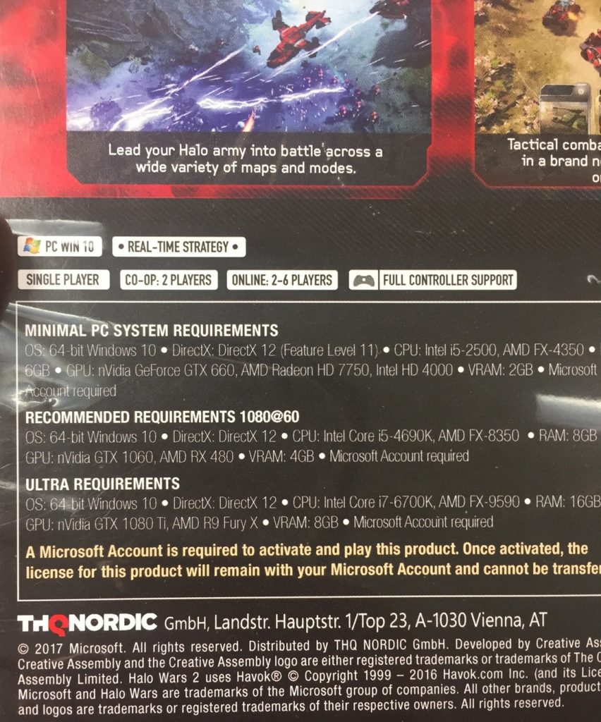 Halo Wars 2 system requirements with 4K requiring GTX 1080Ti