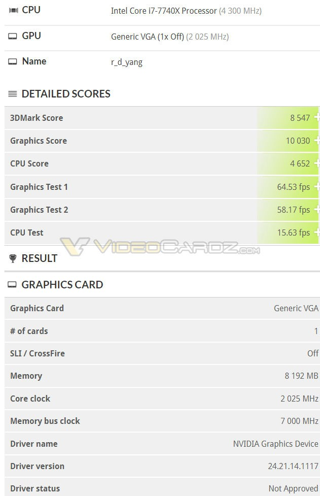 NVIDIA GeForce RTX Card's TimeSpy result spotted in 3DMark database
