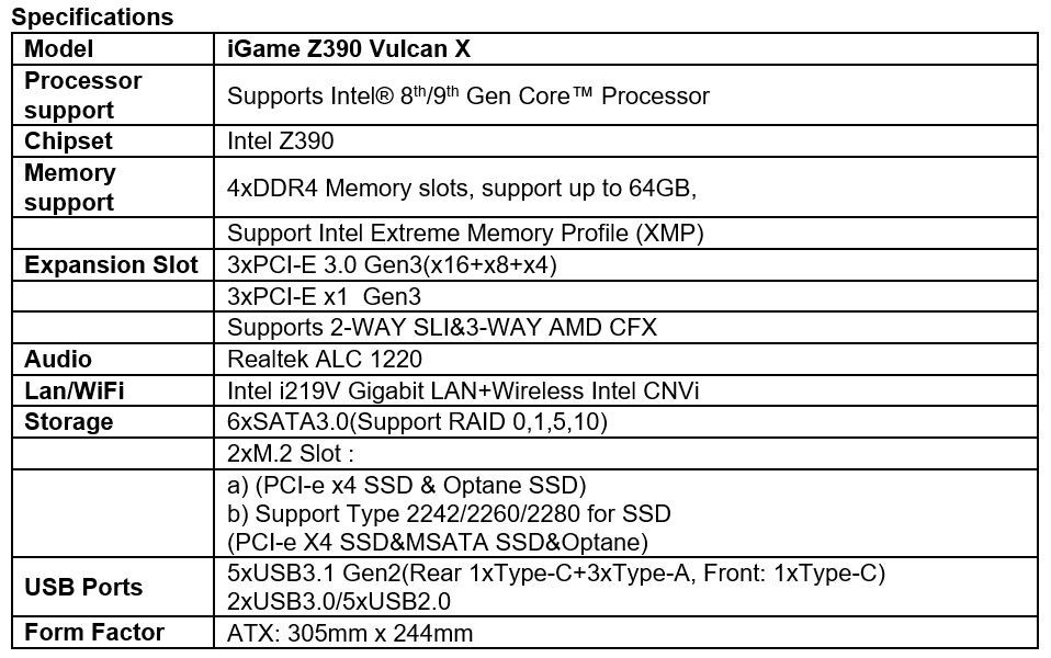 COLORFUL Debuts iGame Z390 Vulcan X Motherboard