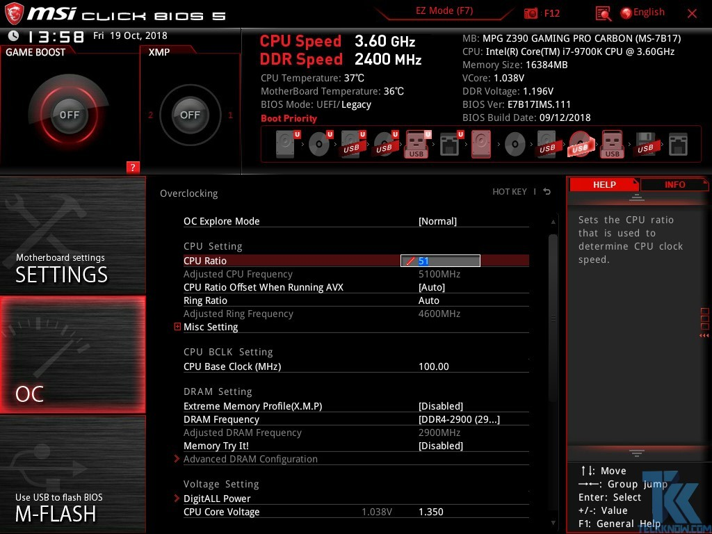 Intel Core i7-9700K with MSI MPG Z390 Gaming Pro Carbon Motherboard