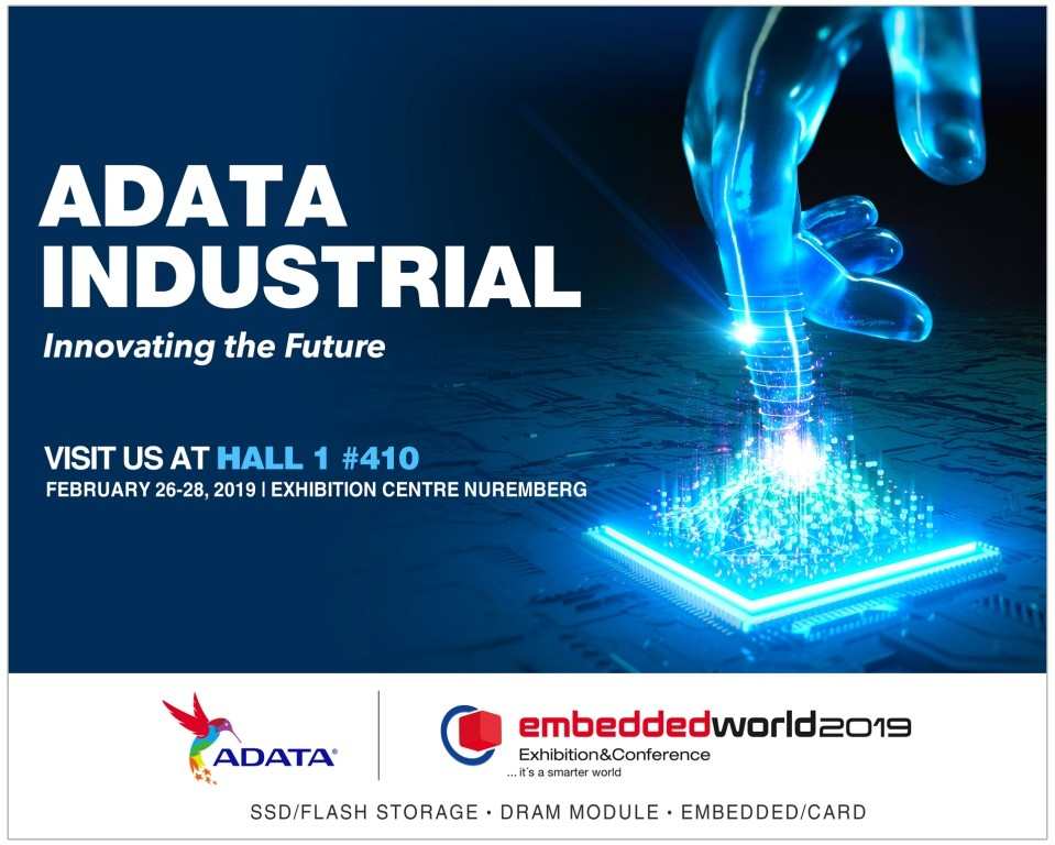 ADATA to Showcase Full Lineup of Industrial Storage Products at Embedded World 2019